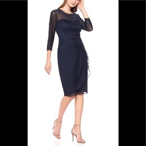 NWT Alex Evening Women Sheath Party Dress Navy 10p